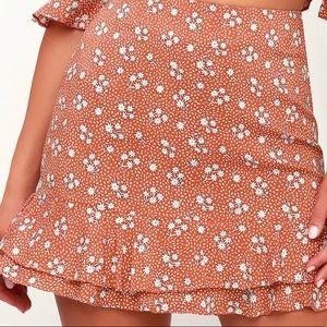 Pink Floral Print Skirt